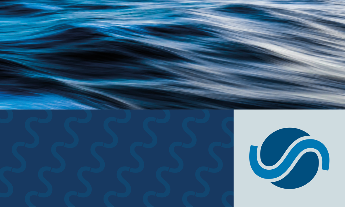 Photo collage of blue wavy water, blue SIWI pattern and new logo